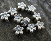 FREE SHIPPING - TEN Sterling Silver Hollowform Flower Spacers
