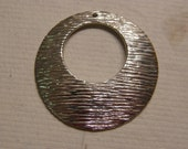 FREE SHIPPING - LARGE Sterling Silver Etched Circle Pendant