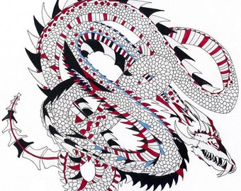 Dragon Art Print, Black and Red Drawing of a Dragon, Asian Inspired, Tattoo Design