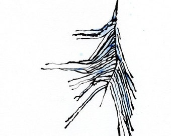 Blue Feather, Original Watercolor and Ink