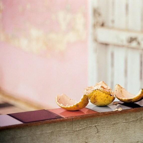 Cuba, Travel Photography, Citrus Fruit Peels, Lemon, Pink, Blush, Art Print