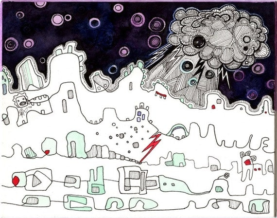 Space Station, Science Fiction, Moon Landscape, Drawing of Outer Space, Original Watercolor