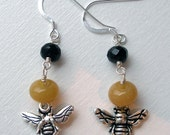 Be My Honey Bee - glass bead and bee charm earrings