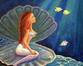 The Clamshell Mermaid - ACEO - mini print