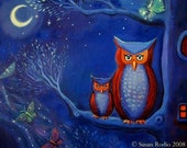 "Owl Art Print ""The Forest At Night 8 x12"