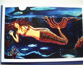 Mermaid Greeting Card - It Wasnt a Dream - from Original Painting by Susan Rodio.