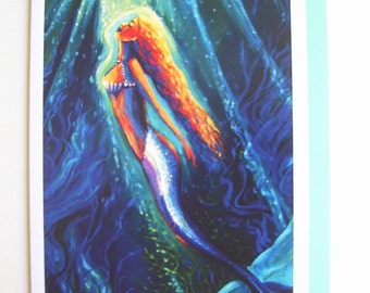 Mermaid Greeting Card - The Mermaid and The Mirror - from Original Painting by Susan Rodio.