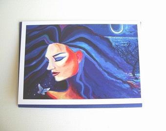 Fantay Art, Goddess Greeting Card - Piscean Moon.