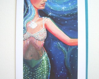 Turquoise Mermaid Greeting Card - Crystal Sea - from Original Painting by Susan Rodio.