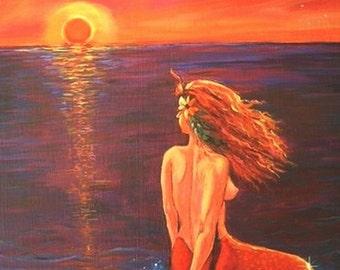 Watching The Sunset -  Mermaid Art Print 7 x 10.5