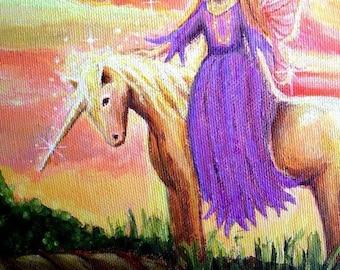Angel and Unicorn ACEO - mini print
