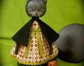 Primitive Folk Art - Kitty Witch Trick or Treat - Cloth and Paperclay Doll - OOAK