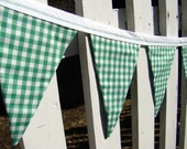 green gingham st patricks day bunting