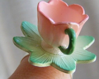 Pink Tulip Fairy Tale Tea Cup Ring Tea Party Fantasy Statement Rings