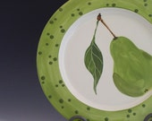 Round Polka Dot & Pear Platter - Pear Medium Round Rim Platter - Handpainted Green Ceramic Pottery Serving Home Chef Gifts P-120W