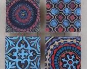 Mosaic Wall Art - Pattern & Texture Clay Tile Mounted Wall Art Set of Four - Colorful Pottery Rustic Geometric  Home Decor