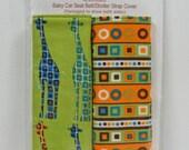 Baby Car Seat Belt Strap Cover....Safari Giraffes...Geometric stripe....Reversible