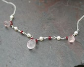 Ruby Necklace, Pearl Necklace, Pink Quartz Necklace, Ruby Necklace, Red, Pink, Sterling Silver, Gemstone Necklace Maggie McMane Designs