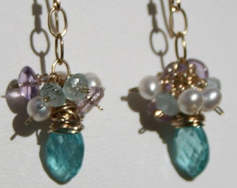 Blue Cluster Earrings, Apatite Earrings, Aquamarine Amethyst Earrings, Dangle Earrings, Gold Earrings, Blue, Pearls, Maggie McMane Designs