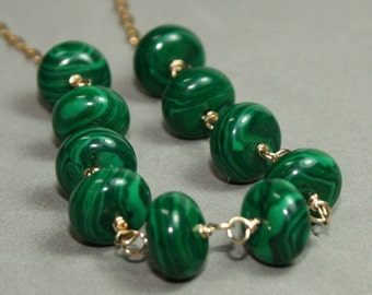 Malachite Necklace, Green Beaded Necklace, Gold Link Necklace, Green and Gold Necklace, 20 inche Necklace, Green by Maggie McMane Designs