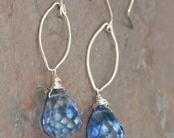Long Blue Quartz Earrings, Blue Briolette Earrings,  Sterling Silver Earrings, Blue Hoop Drop Earrings, Handmade by Maggie McMane Designs