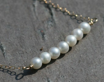 Pearl Necklace, Beaded Bar Necklace, Pearl Row Necklace, Gold Necklace, Delicate, Beaded Pearl Necklace, 18 in, Maggie McMane Designs