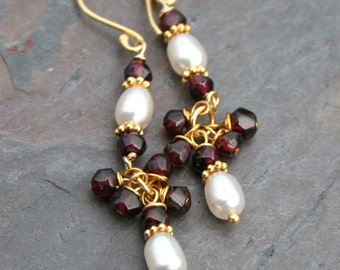 Garnet Earrings, Pearl Garnet Earrings, Gold Vermeil Earrings, Pearl Earrings, January Birthstone, Pearl Earrings by Maggie McMane Designs