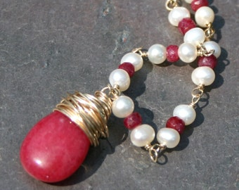 Red Ruby Pearl Necklace, Beaded Necklace, Rubies, Red and Gold Necklace, Wire Wrapped Necklace, Ruby Pendant Necklace Maggie McMane Designs