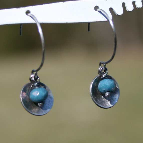 Silver Disc Earrings, Small Disc Earrings, Peacock Blue Earrings, Small Blue Earrings, Sterling Silver Earrings by Maggie McMane Designs