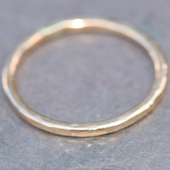 14k Gold Fill Stacking Ring US SIze 7.5 Hammered by Maggie McMane Designs