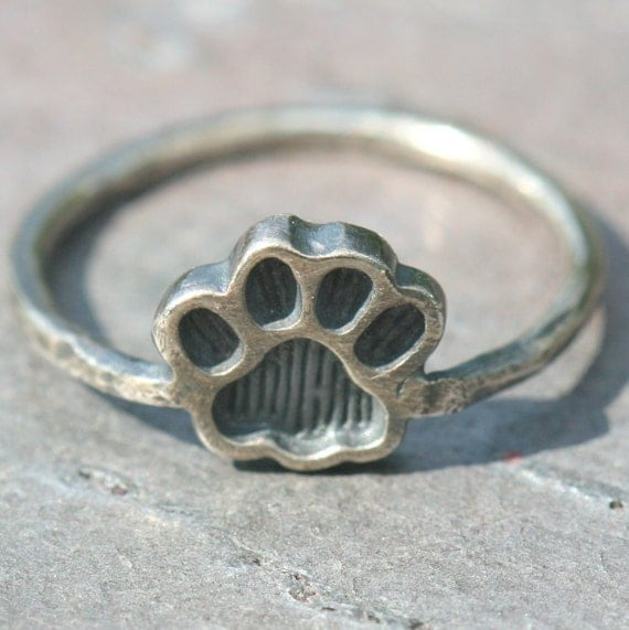 Paw Print Pinky Ring in Fine and Sterling Silver Oxidized US Size 4.5 by Maggie McMane Designs