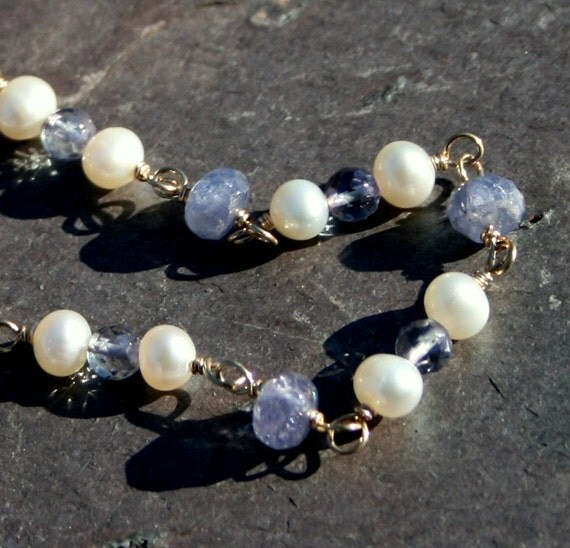Pearl Tanzanite: Tanzanite And Pearl Necklace In 14k Gold Fill By Maggie McMane