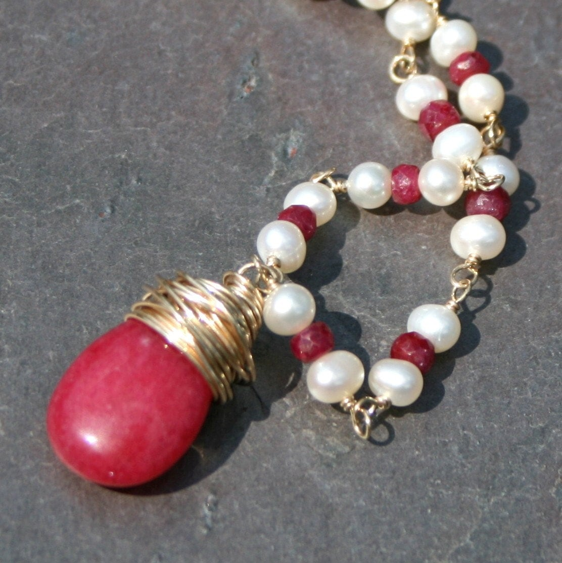 Red Ruby Beads: Red Ruby Pearl Necklace Beaded Necklace Rubies Red And Gold
