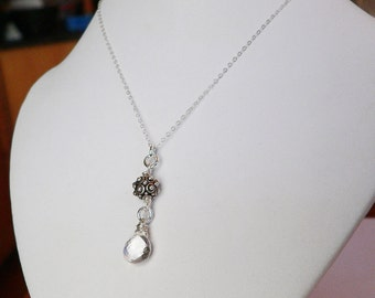 Timeless pendant - Crystal and Bali Sterling Silver Necklace