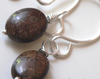 Bronzite and Sterling Silver Earrings