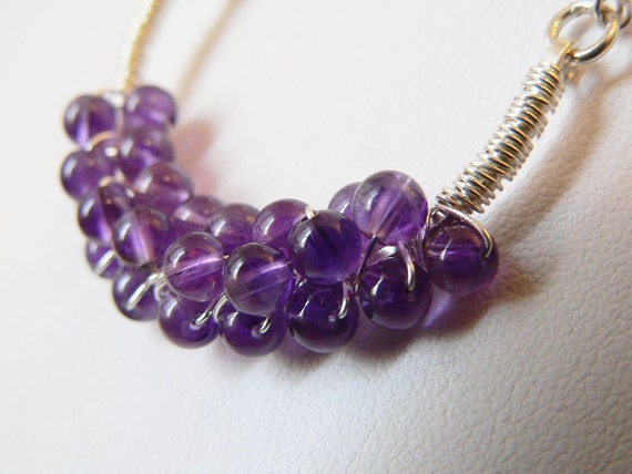 Amethyst Neck Piece, Smooth Round Amethyst, Sterling Silver, Wire Wrapped, Natural Gemstones, Birthstone Necklace