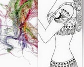 Original Pen Drawing Bookmark - Tattooed Mermaid