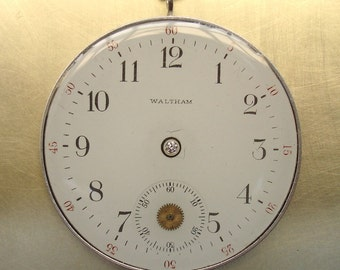 Diamond Waltham Pocket Watch Sterling Silver Pendant