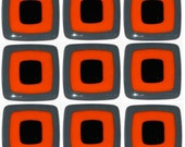 "Modern Chic 3"" Glass Tiles Handmade/ Custom Kitchen Tiles / Orange, Black, and Gray, US SHIPPING INCLUDED"
