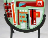 """Opus 12 Sculpture of Fused Glass in Wrought Iron Stand, Green, Red, and Orange, 12"""" x 9"""", Original Art, Shipping Included"""