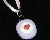 """SALE Sweet Pink Heart Pendant, 1/2"""", on Pink Silk Ribbon, Fused Glass, Shipping included"""