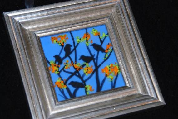 """5 Black Crows on Blue, Fused Glass Mini Painting, 7"""" x 7"""", Orange and Yellow Glass on Painted Trees"""