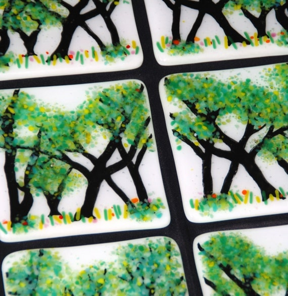 "Hand Painted Trees Fused Glass Tiles, Custom Made, 4"", Green and White, Other Colors Available, FREE Shipping to US"