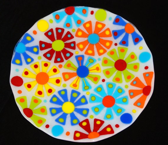 "Flower Power Large Fused Glass Platter, Multicolored, 13.5"" Round, Colorful and Original, FREE SHIPPING"