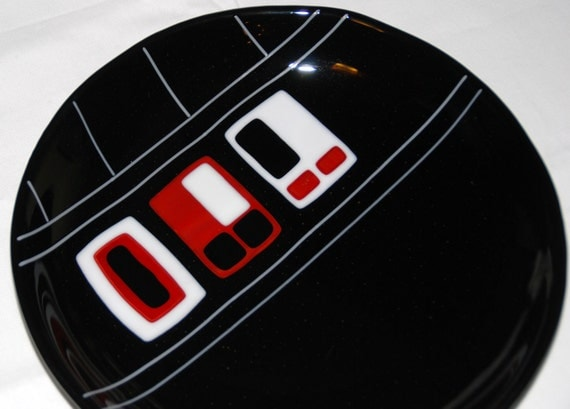 """Black and Red Retro Fruit Bowl, 11.5"""" x 2.75"""", Fused Glass, Food Safe"""