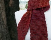 No Time For Fun Scarf for everyday in Autumn colors red, rust, yellow, blue specks