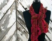 Chocolate Raspberry Scallop Crochet Scarf Ready for Autumn - thirdeyeartisans