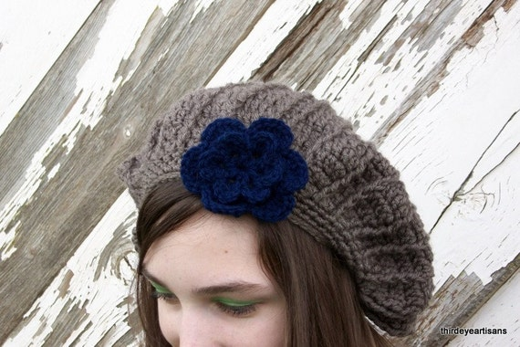 Reserved for Sandra Crochet Slouch Beret Hat in Taupe