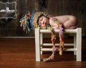 NEWBORN Photography Prop - Baby Knit Aviator Hat - Earflap