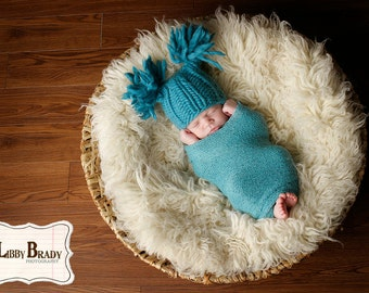 NEWBORN Baby Photography Prop - Knit Hat - Twin Prop - Blue PHOTO 2